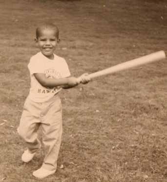 Barack Obama playing baseball circa the Sixties