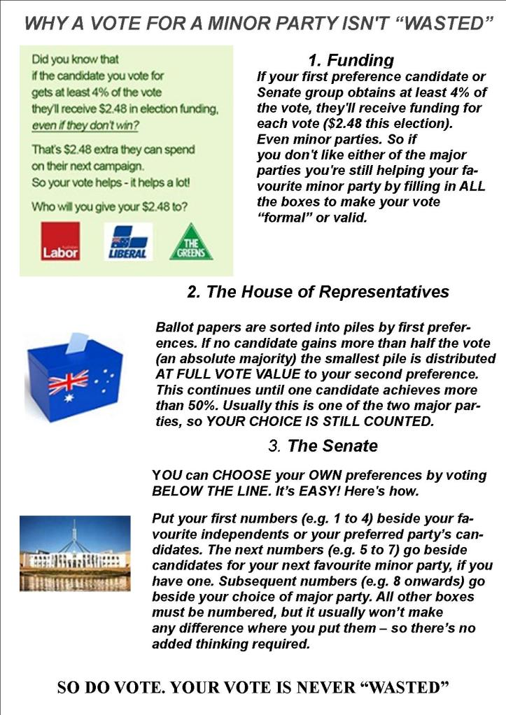Why a vote to a minor party is not wasted