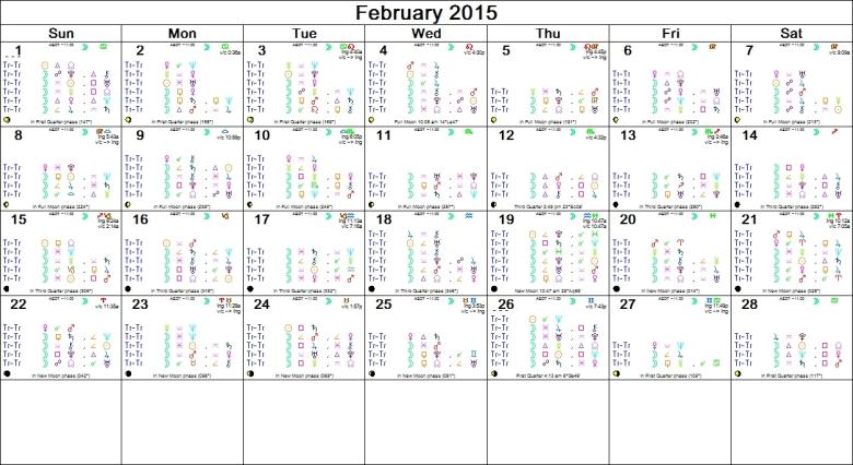 FEBRUARY 2015 ASTRO CALENDAR