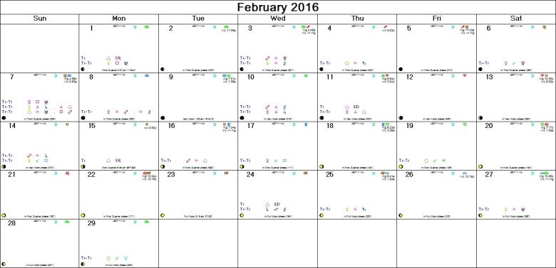 FEBRUARY 2016 ASTRO-CALENDAR