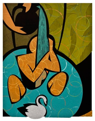 Leda and the Swan - Monotype by Brian Fisher
