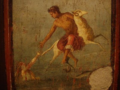 Roman fresco from Pompeii, depicting the myth of Helle and Phrixius, riding the Ram with the Golden Fleece