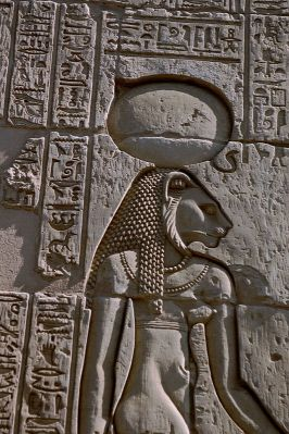 The warrior goddess Sekhmet with her sun-disk and cobra-crown from a relief at the temple of Kom Ombo