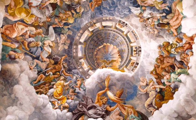 'The assembly of the Gods around the throne of Jupiter' by Giulio Romano. From the vault of the 'Sala dei Giganti', in Palazzo Te, Mantova, Italy