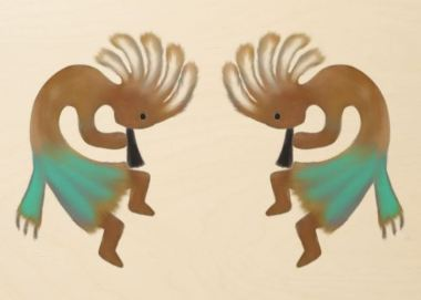 Kokopelli Duo Fertility Gods of fertility, usually depicted as a humpbacked flute player venerated by some Native American cultures in the Southwestern United States. Kokopelli presides over both childbirth and agriculture
