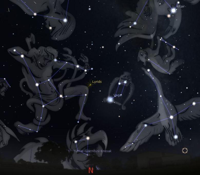 Lyrids Meteors Showers April 23 2017, around 3.40 am, looking North, Eastern Australia