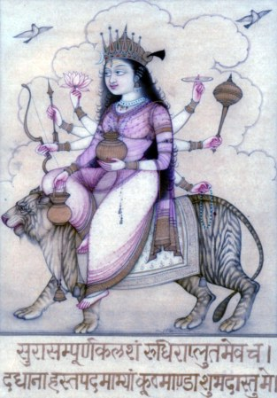 "Kushmanda is the fourth form of the Hindu goddess Durga. Her name signals her importance: Ku means ""a little"", Ushma means ""warmth"" or ""energy"" and Anda means ""cosmic egg"". She created the universe with her divine smile"