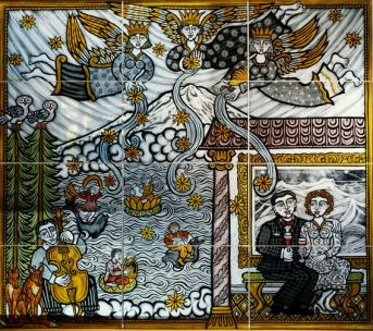 'The Muses bestowing Blessings on the Pacific North West' by Coppy Thompson (glass painting)