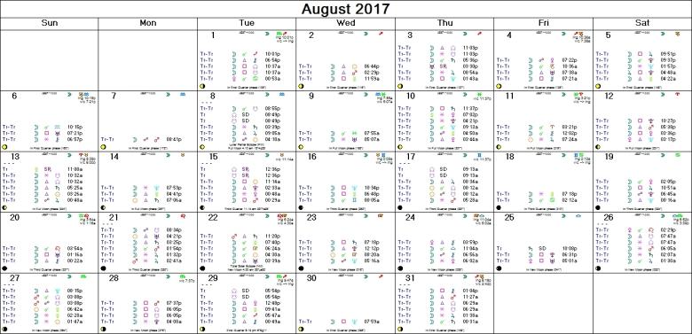 AUGUST 2017 ASTRO-CALENDAR