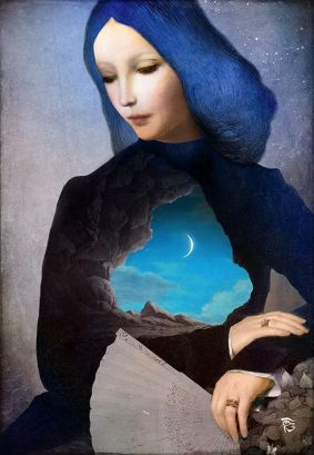 Blue Lady with Crescent Moon and Fan - don't know the artist