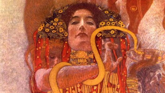 'Hygeia' - She is the daughter of the Medicine God Aesculapius and the Goddess of Good Health and Healthy Habits - Artwork by Gustav Klimt
