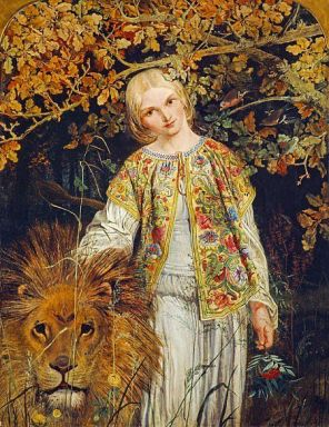 'The Faerie Queen Una and the Lion' by William Bell Scott