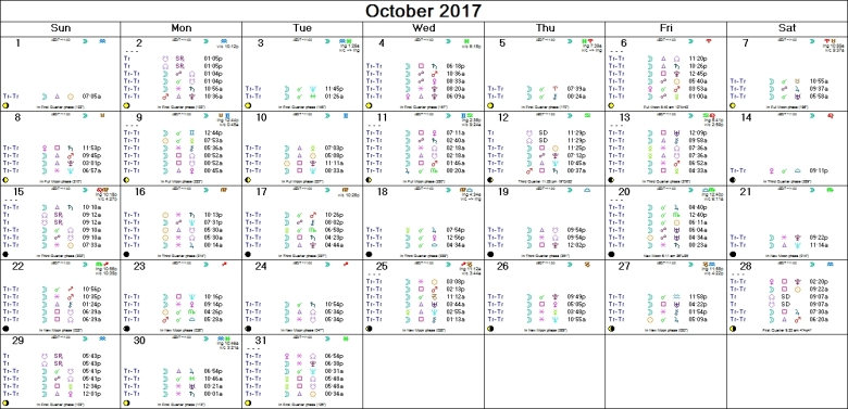 OCTOBER 2017 ASTRO-CALENDAR
