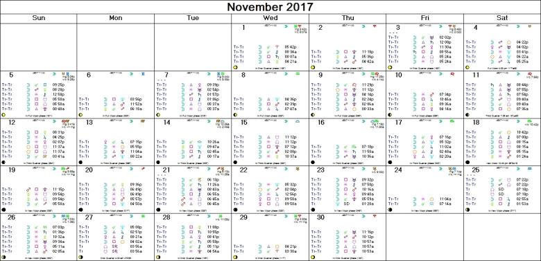 NOVEMBER 2017 ASTRO CALENDAR