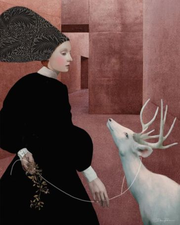 'Walking with a white deer' by Daria Petrilli
