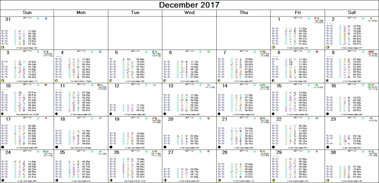 DECEMBER 2017 ASTRO-CALENDAR, including the Moon's Voids of Course
