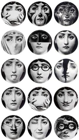 Plates with images of Lina Cavalieri by artist Piero Fornasetti