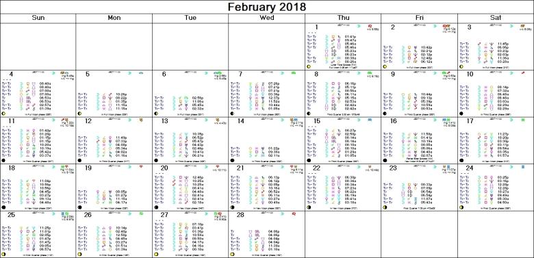 FEBRUARY 2018 ASTRO-CALENDAR
