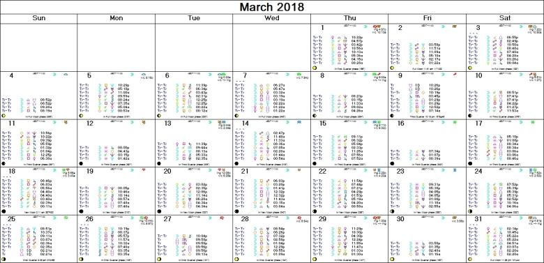 MARCH 2018 ASTRO-CALENDAR