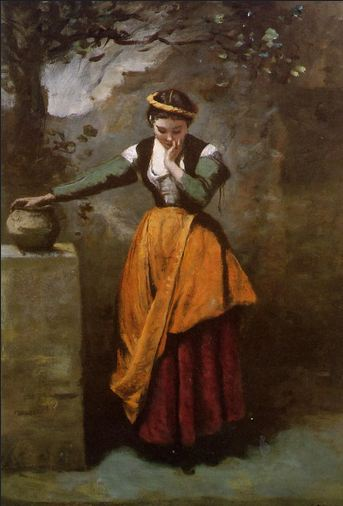 'Dreamer at the fountain' by Camille Corot