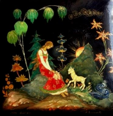 Russian Palekh (miniature) of girl with goat