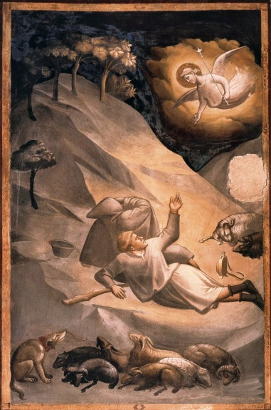 14th-century fresco by Taddeo Gaddi, Basilica of Santa Croce, Florence - Angel announcing the birth of Jesus to shepherds during an eclipse