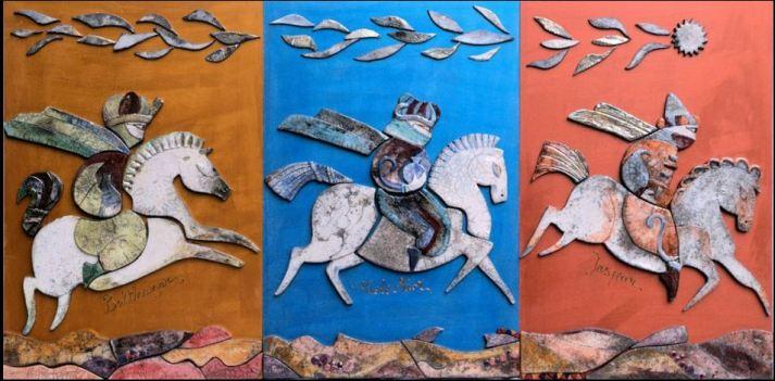 'Cavaleri d'Oriente' trittico in ceramica Raku by Giuliana Cusino