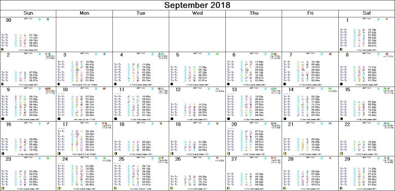 SEPTEMBER 2018 ASTRO-CALENDAR