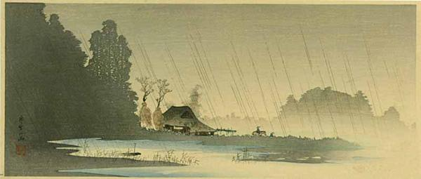 'Village in the Rain' by Shotei Takahashi