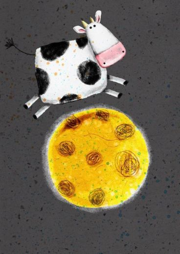 Cow jumping on the Moon