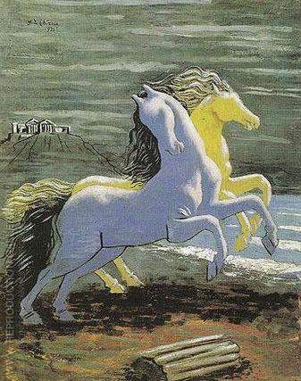 'Due cavalli sulla riva del mare' by Giorgio De Chirico