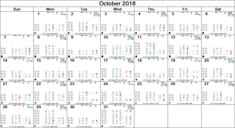 OCOTBER 2018 ASTRO-CALENDAR