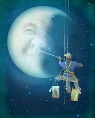 Man painting the Moon