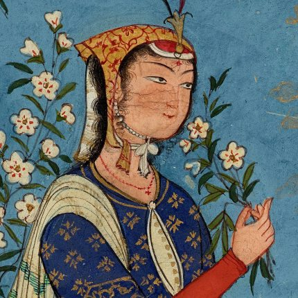 'Woman with a spray of flowers' Safavid Dynasty - Persia - circa 1575 - detail